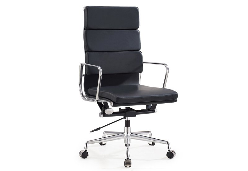 Black Powder-coated Leather Office Chair (DU-366HB)